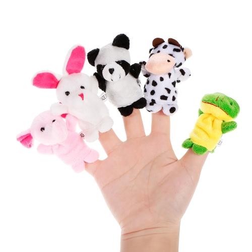 10本の動物の指の人形かわいい漫画のぬいぐるみの指の人形の子供赤ちゃん早期の教育おもちゃ