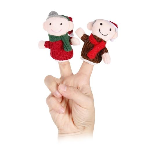 6本の指の人形かわいい漫画のクリスマスの家族のぬいぐるみ指人形の子供のクリスマスギフトのおもちゃ