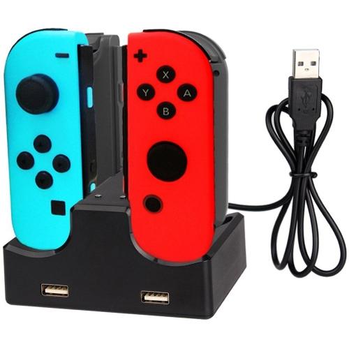 Dock di ricarica 4 in 1 con hub USB a 2 porte per Nintendo Joy-Con