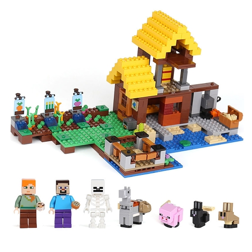 Oryginalne pudełko LEPIN 18039 615szt. Minecraft Series the Farm Cottage Model Building Blocks Bricks Kit