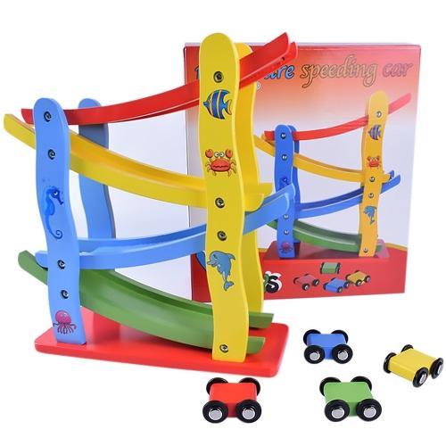 Drewniana 4-torowa szybownictwo Samochodowe wózki dziecięce Wczesne zabawki edukacyjne dla dzieci