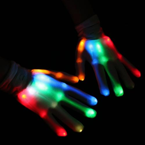 1ペアのカラフルなLEDの光る手袋は、点滅する指のグローブユニセックスのスケルトンダンスクラブの小道具パーティースタイル2
