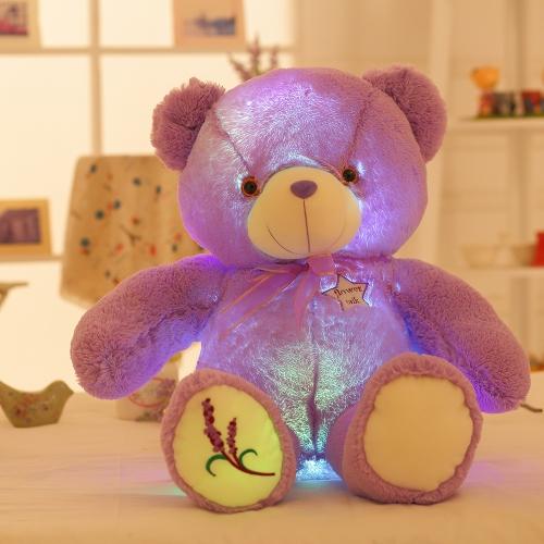 ロマンチックなLEDフラッシュライト紫のクマの人形光る柔らかいぬいぐるみの枕ぬいぐるみの動物のクッション子供の女の子のギフトの音楽プレイスタイル2