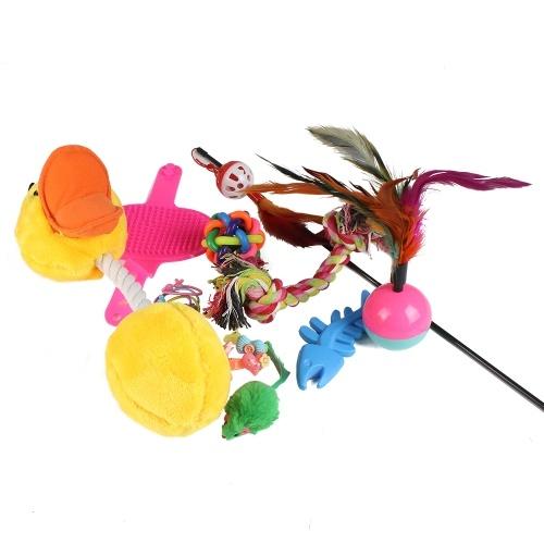 18 stücke Katze Spielzeug Feder Sound Interaktive Teaser Bälle und Mint Fisch Katzenminze Spielzeug Set