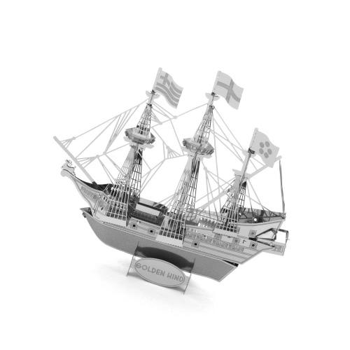 Puzzles 3D Golden Hind Ship - Kit de Modelos de Metal 3D - Modelo DIY Juguetes Educativos de Animales