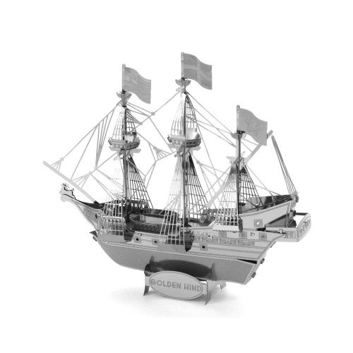 3D Puzzles Golden Hind Ship - 3D Metal Model Kit - DIY Model Animal Educational Toys