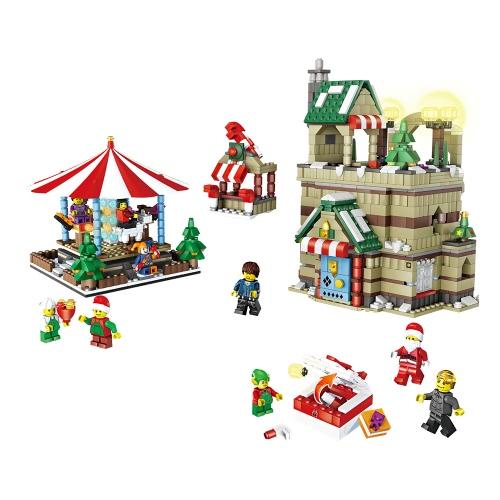 JJR / C Boże Narodzenie Seria 1003 1595pcs Przyjemność Terenowa Scena Edukacyjna Zabudowa Blokowe Zabawki