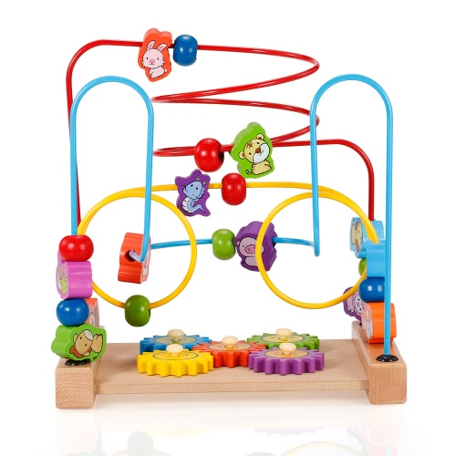 Multipurpose Classic Wooden Beads Game Gear and Zodiac Pattern Activity Cube Educational Wood Toys for Kids