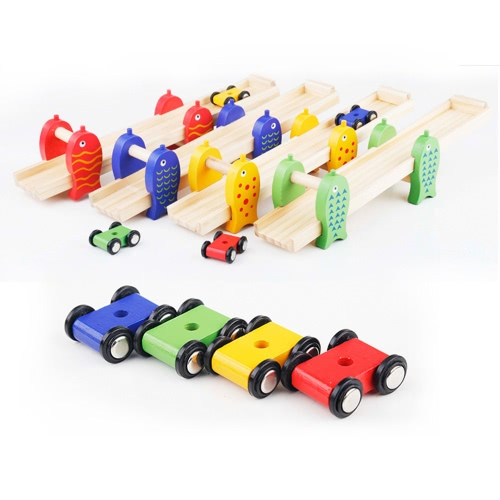 De madera de pescado Glide coche desmontable Diapositiva coche bebé manos en los juguetes educativos temprana de juguete para los niños