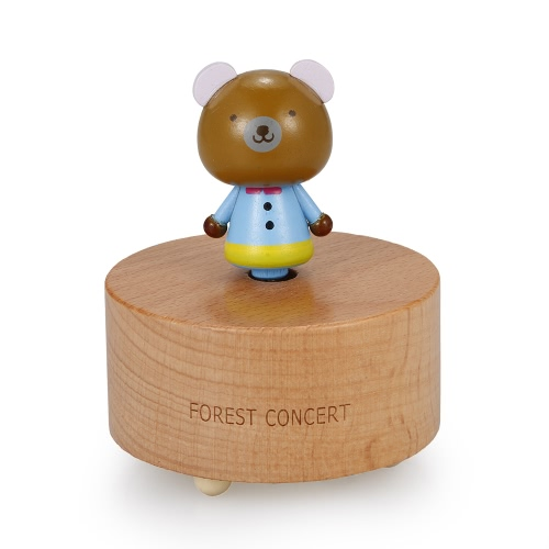 Wooden Beech Music Box Cute Animal Shape and Beautiful Music Cartoon Image Music Box Educational Toy for Kids