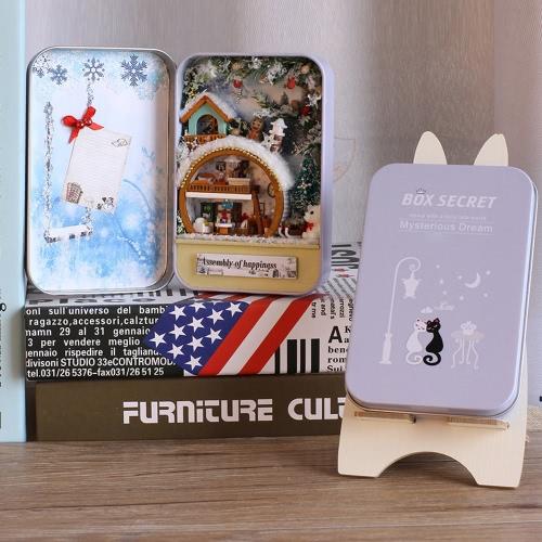 DIY Haus Miniatur-Kit Dollhouse Creative Zimmer mit Möbel LED Staubdicht Box für Weihnachten Romantische Kinder Geschenk