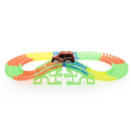 128PCS Twisted Tracks 45mm Flexible Assembly Neon Glow in Darkness with Bridge Track Race Car for Kids