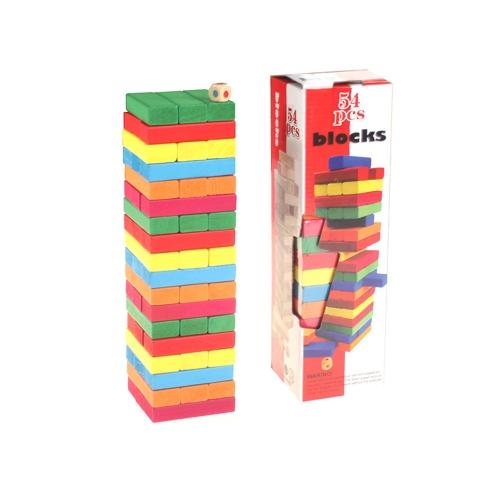 54 Stücke Bunte Holz Baustein Set Stacking Brettspiel Form und Anzahl Anerkennung Pädagogisches Spielzeug für Kinder