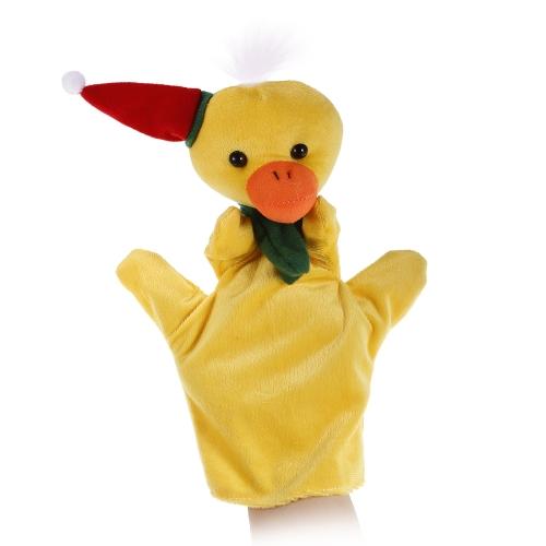 動物の手の人形かわいい漫画のクリスマスの鴨のぬいぐるみ手のぬいぐるみ人形子供のクリスマスギフトおもちゃ