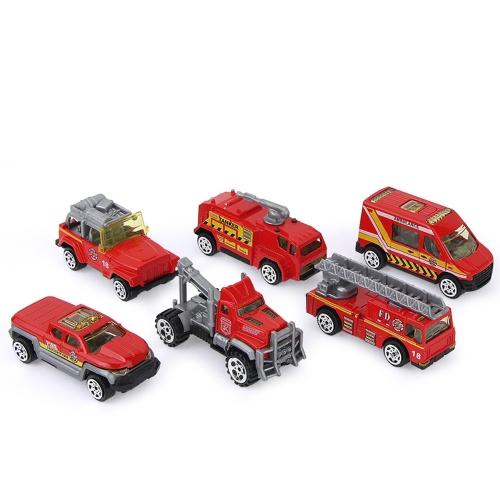 6Pcs 1:64 Scale Die-Cast Slide Fire Truck Adavanced Simulation Model Miniature Cars for Kids