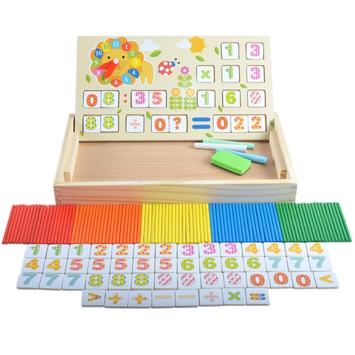Wooden Counting Sticks Arithmetic Box Mathematics Learning Educational Toys with Counting Rods and Blackboard