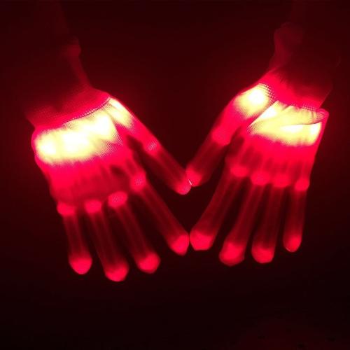 1 Paar Bunte LED Leucht Handschuhe Rave Beleuchtung Blink Finger Handschuh Unisex Skeleton Tanzen Club Requisiten Party Stil 3