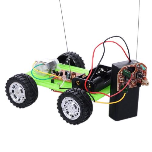 緑の色1個ミニリモートDIY車キット子供教育パズルガジェットホビーロボット車おもしろおもちゃ