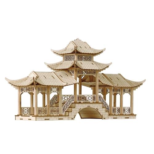 3Dウッドパズルモデル木製の偉大な中国の建築DIYのおもちゃアートクラフトビルディングキット子供のための最高の教育贈り物親子のインタラクティブトイスタイル3ギャラリーブリッジ