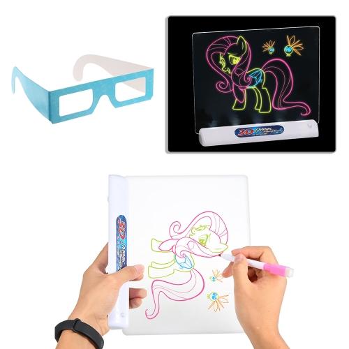 Multi-función 3D Flash Tridimensional Magic Tablero de dibujo magnético Toy Colorful Pen Painting Tablet