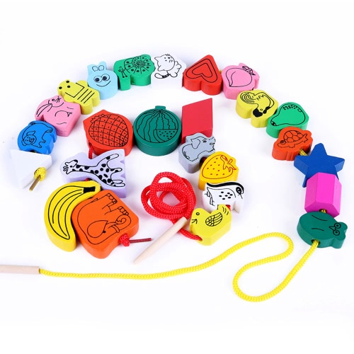 Colorful Wooden Stringing Beads Wood Lacing & String Bead Motor Skill Toy Early Educational Blocks Toy