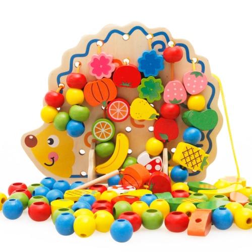 82個の木製のヘッジホッグフルーツビーズ弦番号と手紙ビーズ庭DIYビルディングキットおもちゃ子供のためのクリスマスギフト