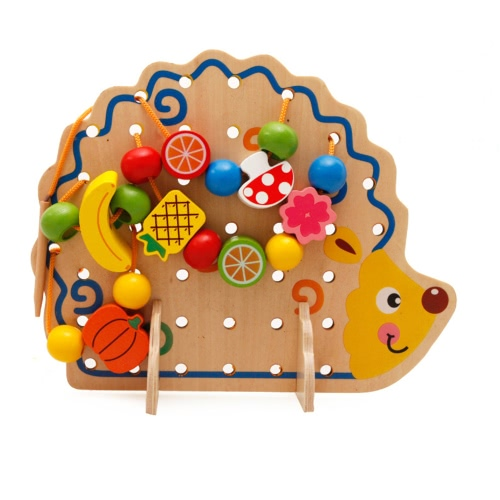 82Pcs Wooden Hedgehog Fruit Beads String Number and Letters Beads Garden DIY Building Kits Toys Christmas Gifts for Kids