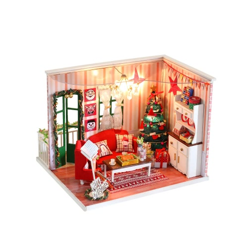 DIY Haus Miniatur-Kit Dollhouse Creative Zimmer mit Möbel LED Staubdicht Deckung für Weihnachten Romantische Kinder Geschenk