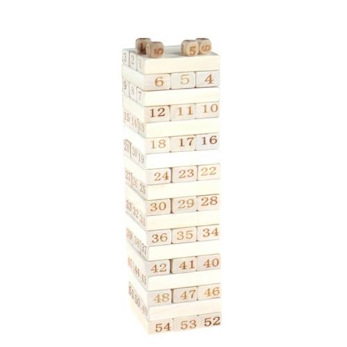 48 Stücke Holz Baustein Set Stapeln Brettspiel Form und Anzahl Anerkennung Pädagogisches Spielzeug für Kinder