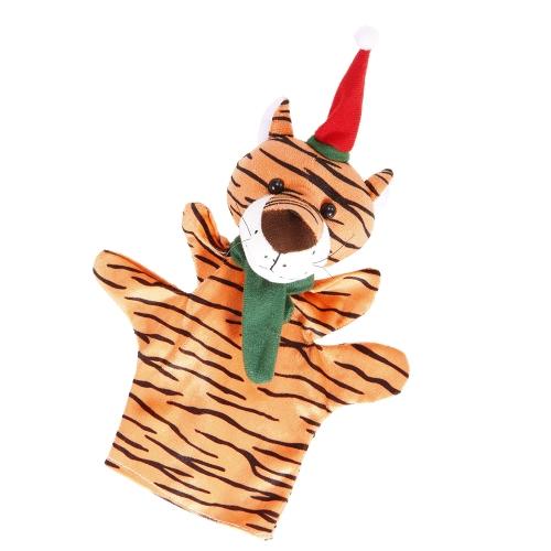 動物の手の人形かわいい漫画のクリスマスタイガーのぬいぐるみ手のぬいぐるみ人形子供のクリスマスギフトおもちゃ