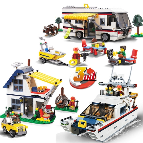 DECOOL 3117 792pcs Creator 3 in 1 Vacation Getaways Model Building Blocks Kit di mattoni