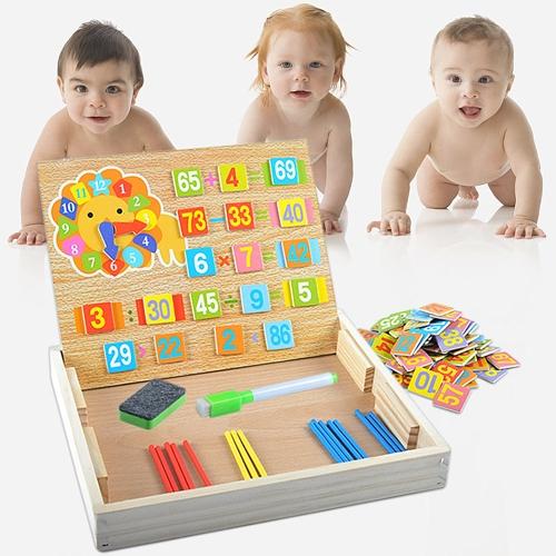 Drewniane pudełko do liczenia Arytmetyka Pudełko do nauki matematyki Nauka zabawek edukacyjnych z liczeniem prętów i kart