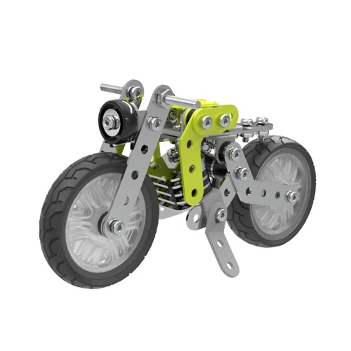 120Pcs Retro Motorbike Intelligent Construction Set 3D Stainless Steel Model Kit DIY Gift Model Building Educational Toys