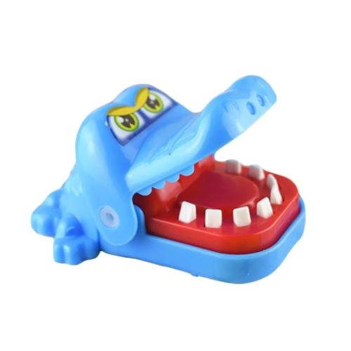 かわいい小さなクロコダイル口の歯医者緑の咬傷指ゲーム玩具ホーム家族ゲームギフト子供たちのための面白いおもちゃを食べるキッドアダルト青黄色の配信でランダム
