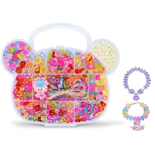 ガールズ子供パッケージおもちゃの手作りビーズのDIYの摩耗ビーズのブレスレットのネックレス薬草約350個スタイル1