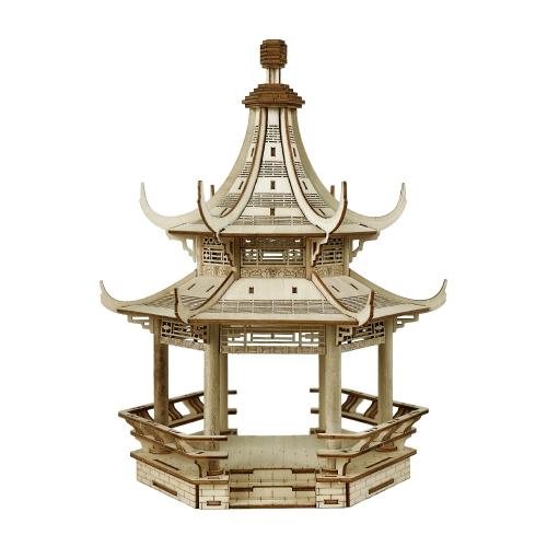 3Dウッドパズルモデル木製の偉大な中国の建築DIYのおもちゃアートクラフトビルディングキット子供のための最高の教育贈り物親子のインタラクティブトイスタイル4 Guting