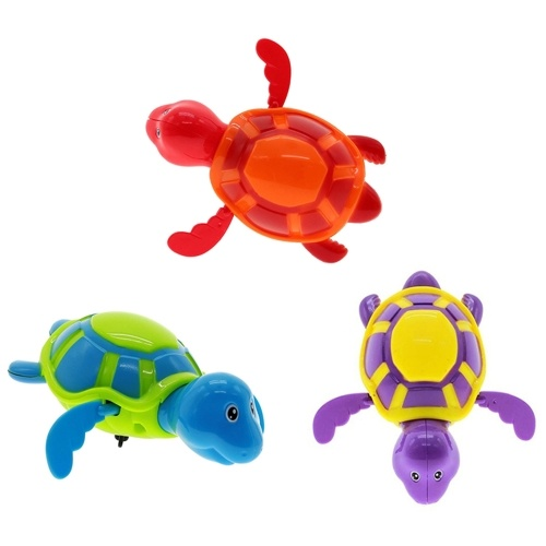 Cute Swim Turtle Wound-up Chain Clockwork Baby Kid Bath Toy Tub Wind Up Swimming Toys Random Color
