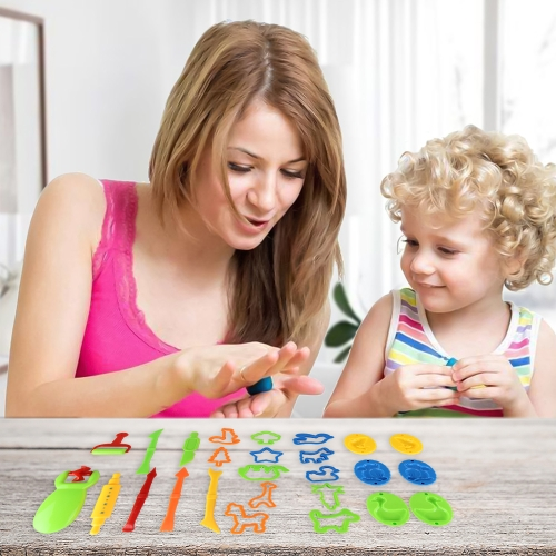 26 Pcs Kids Clay Dough Molds Tool Playset Play Rolling Animal Sea Creatures Toy Shapes Maker Geometry Preschool Educational Toys DIY Art and Craft Kit