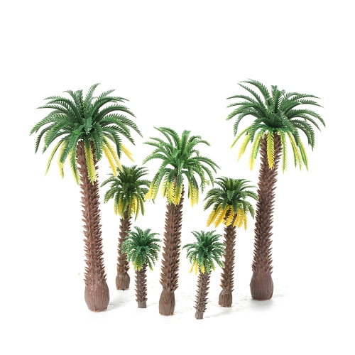 12pcs Layout Model Train Coconut Palm Trees Rain Forest Miniature Landscape Scenery Scale 1:65-1:150