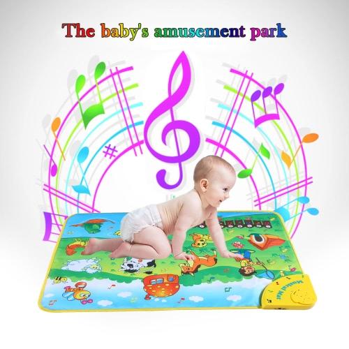 Kolorowe Muzyczne Nauka Mat Zwierzę Zwierząt Gospodarczych Flash Music Dywanik Kocik Dotknij Zabawka dla Dzieci Dziecka 71 * 49 CM