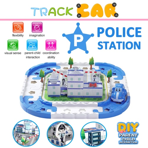 Electric Rail Car Racing Car Puzzle Electric Track Police Station Blocks Track Battery Powered DIY Toy Set for Kids