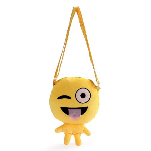 Il modo sveglio emoji affronta il sacchetto di spalla del emoticon