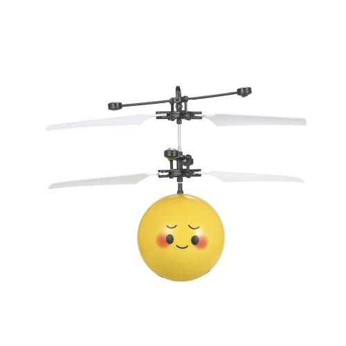 フライング絵文字電気ボールカラフルなLED照明点滅ヘリコプター赤外線誘導玩具ドローンステージランプ子供のおもちゃスタイル1