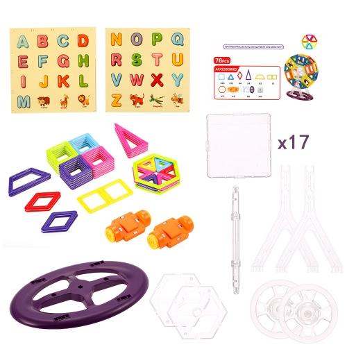 XINBIDA 719 76PCSマグネットビルド磁気ブロック建設教育おもちゃ