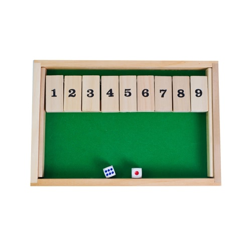 Wooden 9 Number Shut the Box Dice Board Game Classic Tabletop Toy Educational Wood Toys for Kids and Adults