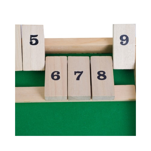 Wooden 9 Number Shut the Box Dice Board Game Toys