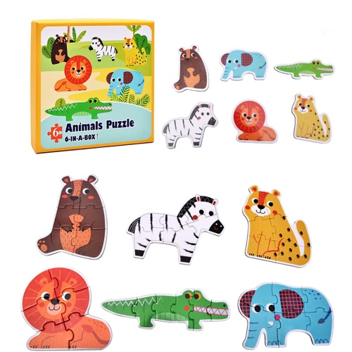 4Pcs Paper Jigsaw Puzzle Set Forest/Farm/Marine Animals/Transportation Tool Paper 6-In-A-Box Puzzle Games Educational Toy