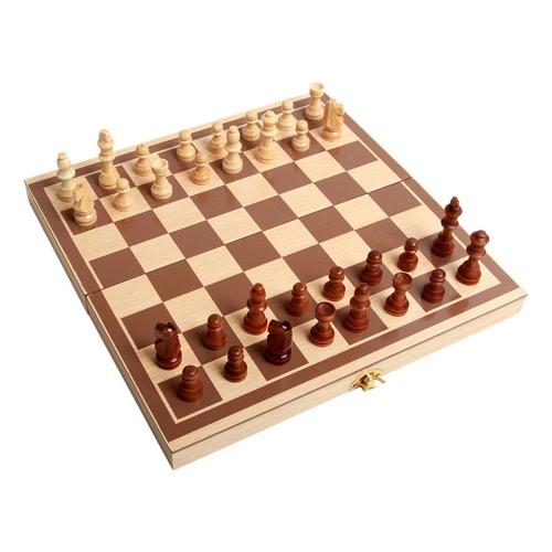 木製のチェスのおもちゃのセット木製のパズルのチェスの折り畳みチェスボードのチェスセット子供のための国際的なチェスの知的トレーニング