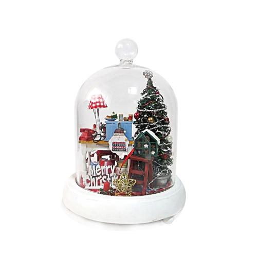 DIYハウスミニチュアキットドールハウスクリエイティブルーム家具LEDガラスカバー音声コントロールスイッチクリスマスロマンチックキッズギフト