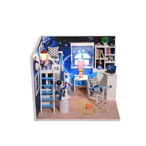 DIYハウスミニチュアキットドールハウスクリエイティブルーム家具LED防塵カバーロマンチックな子供のためのギフト